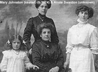 Left to Right: Annie Benzie Davidson  (born 1904), Isabella Davidson (nee Johnston) born 1880, Mary Johnston (seated) born 1874 & Annie Swanton (unknown).
