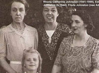 Back Row: Jessie Johnston (1900-1987) & Dorothy Johnston (1891-1984). Front Row: Rhona Catherine Johnston (1941-1999), Edna Jean Johnston (born 1944) & Freda Johnston (nee Adams).