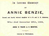 Annie Benzie Johnston memorial card