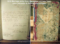 1816 Marriage entry from the Register at Cape Town, John Johnston & Philadelphia Hodges