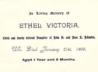 Ethel Victoria Johnston Memorial Card