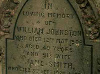 Grave at St Cyrus, William Johnston (1857-1906), his wife Jane Smith (1856-1920) and 3 sons