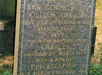 Tweedmouth Cemetery, William Johnston (1838-1922), Ann Johnston (nee Benzie) 1836-1910, Charles Johnston (1878-1879) & Philadelphia Johnston (1877-1882)