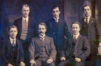 Back Row: Robert, Frank, Charles<br />Front Row: Jim, Ben, John Johnston in Scotland