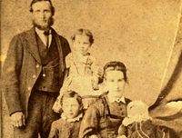 George Johnston with wife Mary Scott and children Charlie & Mary, baby Margaret Scott Johnston, c1874